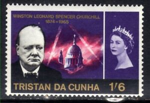 Tristan Da Cunha 1966 QE2 1/-6d Churchill Comms MM SG 92 ( J666 )