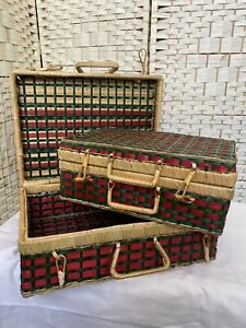 Set 2 Nested Vintage Bamboo Wicker Woven Baskets Asian Picnic Style Display Only