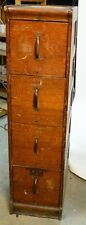 '50s Vintage Oak 4-Drawer File Filing Cabinet Fair Good Used Working Condition