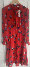 LK Bennett Silk Red Mortimer Pussy Bow Dress Size 10 BNWT RRP £325