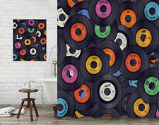 Bathroom Decor Shower Curtain & Painting Creative Vinyl Records Music Background