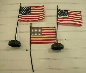 """American Flag  O gauge train layout accessories ( 2 have bases) 11-12"""" tall"""