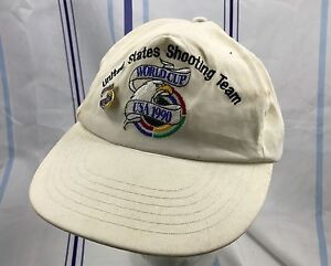 Vintage World Cup USA 1990 US Shooting Team Snapback Cap Hat One Size w/ Pin