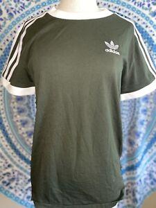 Adidas Women's Original Embroidered Trefoil 3 Stripe T-Shirt Green