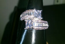BLING RING CREATED 2 SQUARE +PRINCESS CUT WHITE SAPPHIRES SIZE S NEW