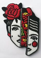 """Frida Kahlo Flowers Split Face Broken Embroidered Patch Iron On 2.5"""" Flamenco"""