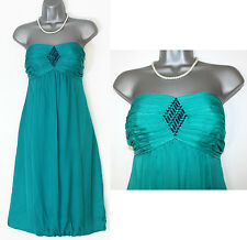 MONSOON Turquoise Green Silk Embellished Strapless Party Dress size 12 EU 40