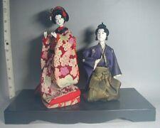HINA Doll #132 Japanese Antique MEIJI Geisha Silk Kimono Obi MUSHA Samurai Sword