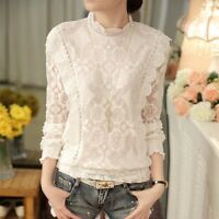 Women T Shirt  Flounced White Hollow Lace Blouse Stand Collar Long Sleeve Tops