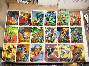 1996 FLEER DC OUTBURST FIREPOWER EMBOSSED 80 CARD BASE SET WONDER WOMAN BATMAN!