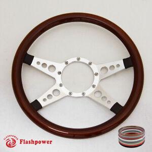 "14"" Billet Steering Wheel Walnut Wood Half Wrap Cadillac Blazer Dodge Cutlass"