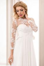 New Womens Bridal Ivory/White Lace Bolero Shrug Wedding Jacket  Corset S M L XL