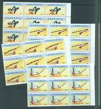 Tanzania 1998 Weapons   sg.2132-5   set of 4 in marginal blocks of 9 MNH