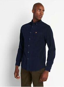 Lyle & Scott Needlecord Shirt  - Navy Size 3XL