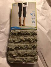 LEMON Women's Ruffles Scrunch Leggings Color Seaglass Size S/M New