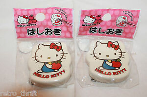 New Set of 2 Sanrio Hello Kitty Porcelain Chopsticks Rest Hashioki Apple Japan