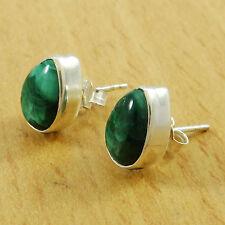 925 Pure Silver Indian Women MALACHITE Stone Stud Earring Set Fashion Jewelry