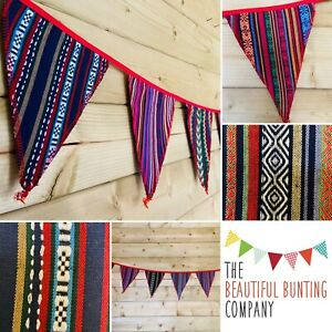 💙Bunting Boho Tribal Festival Woven Hippy Rustic Blue Purple Red Green 7ft❤️💚