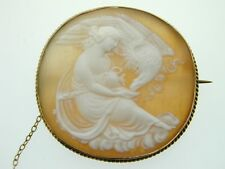 Antique Hebe The Goddess of Youth and The Eagle of Justice Shell Cameo 9ct Gold