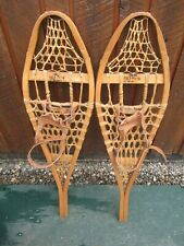 "Nice Great Snowshoes 37"" Long x 11"" Torpedo + Leather Bindings Ready To Use"