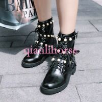 Women Pearls Buckle Zip Leather Motorcycle Rock Lace Up Ankle Boots Block Shoes