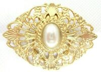 VINTAGE 1980s WOMENS FASHION JEWELRY SCARF CLIP GOLD TONE FILIGREE FAUX PEARL