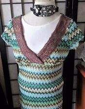 Women Top Multi Colors Brown V Neckline Cap Sleeve Knit Pattern