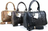 New Ladies Women Lorenz Cowhide Real Leather Tote Barrel Shoulder Bag Handbag