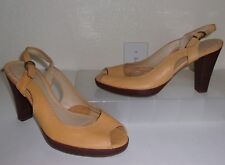 Nicole Yellow Leather Open Toe Slingback Heels Size 7 Shoes Peep Toe Pumps