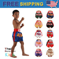 Muay Thai Fight Shorts Kid's Boxing Trunks Kickboxing MMA Martial Arts Training