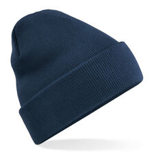 Kids Unisex Navy Cuffed Soft Feel Wooly Hat - Winter, Autumn, Warm, Rain, Wind