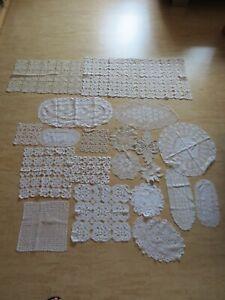 +++Konvolut Häkeldeckchen - Spitzendeckchen von Oma 20 Stück+++Weiß + Beige