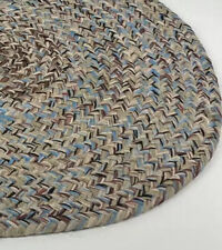 "VTG 2' 9"" X 1' 10"" Oval Woven Braided Rug Primitive Farm Cotton Wool Door Mat"