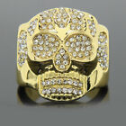 1.55Ct Round Cut Diamond Halloween Special Skull Ring in 14k Yellow Gold Finish