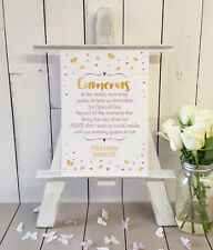 Personalised Do not post on Social Media Instagram Wedding sign gold & pink
