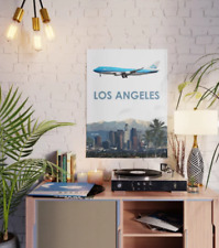 """KLM Boeing 747 over Los Angeles Art - 18"""" x 24"""" Poster"""