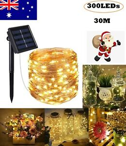 30M Solar String Lights Copper Wire 300LEDs Fairy Lamp Outdoor Garden Xmas Tree