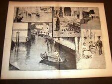 Stampa enorme e rara del 1881 Impressioni di Venezia Disegno di Augusto Foli