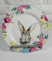 "Ciroa Easter Bunny Floral 4 Side Plates 8"" Porcelain White Blue Rim New"