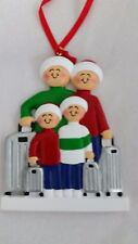 Personalized Family Four 4 Traveling Vacation Christmas Tree Ornament Gift