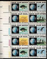 Scott Stamp # 1410-1413, (6c) ANTI-POLLUTION, Plate Block of 10