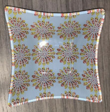"""Floral Square Glass Tray Catchall Flowers Blue Yellow Used  4.5"""""""