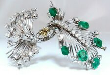 Platinum Estate Natural GIA Certified Fancy Diamond Emerald Pin