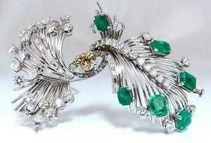 Platinum Estate Natural GIA Certified Fancy Diamond Emerald Pin