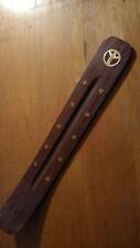 """10"""" Wooden Wood Incense Burner/Ash Catcher/Holder for Sticks Peace Symbol"""
