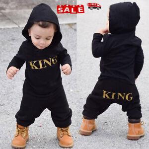 "Newborn Baby Kids Boy""KING"" Cotton Hooded Romper Bodysuit Jumpsuit Outfits Black"