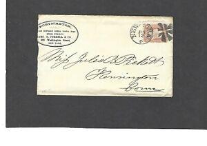 1867 CLASSIC ERA GEO.B.TURRELL & CO.,NEW YORK TO KENSINGTON,CT-FANCY CANCEL
