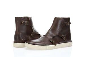 Frye Gates Triple Monk Men's buckled brown leather high tops sz. 9