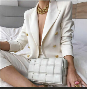 ZARA ECRU DOUBLE-BREASTED GOLD BUTTONS BUTTONED BLAZER SIZE M REF.2821/703