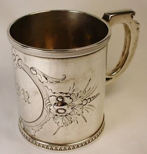 Wonderful Early Coin Silver WOOD & HUGHES Mug 1800s Repousse